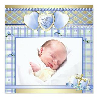 Bautizo azul de la foto del bebé de la cruz azul invitación 13,3 cm x 13,3cm