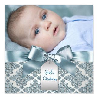 Bautizo azul de la foto del bebé del damasco del invitación 13,3 cm x 13,3cm