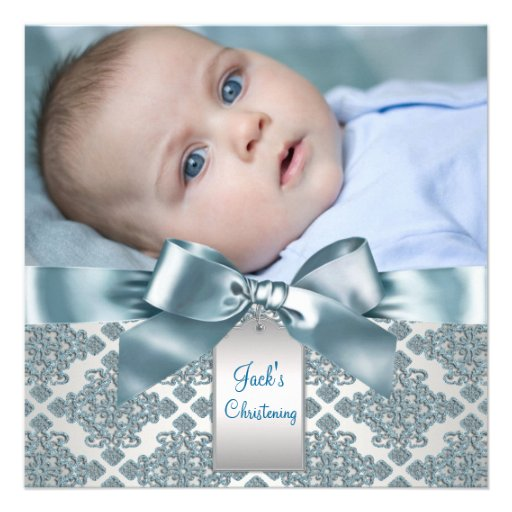 Bautizo azul de la foto del bebé del damasco del t invitaciones personalizada