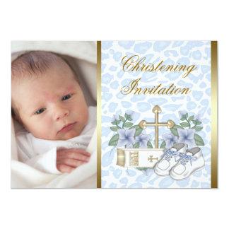 Bautizo azul de la foto del bebé del leopardo del invitación 12,7 x 17,8 cm