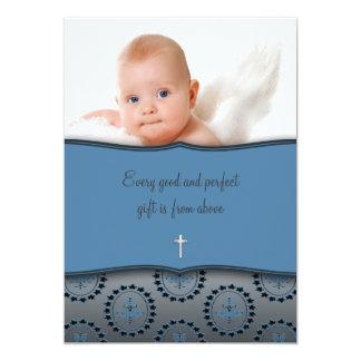 Bautizo azul de la foto del bebé invitación 12,7 x 17,8 cm