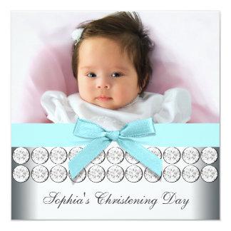 Bautizo azul de la niña de la foto del trullo invitación 13,3 cm x 13,3cm