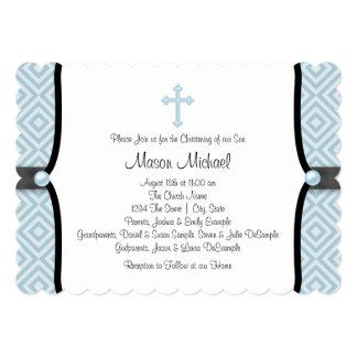Bautizo azul del azul del negro de la cruz de la invitación 12,7 x 17,8 cm