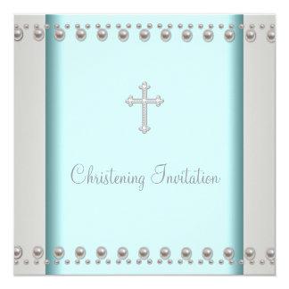 Bautizo azul del bautismo del bebé de la cruz de invitación 13,3 cm x 13,3cm