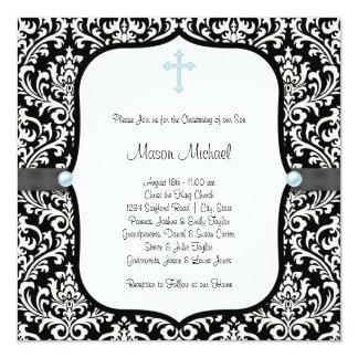Bautizo azul del damasco del negro azul de la cruz invitación 13,3 cm x 13,3cm
