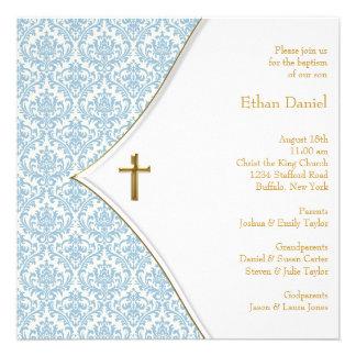Bautizo azul del muchacho de la cruz del damasco