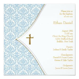 Bautizo azul del muchacho de la cruz del damasco invitación 13,3 cm x 13,3cm