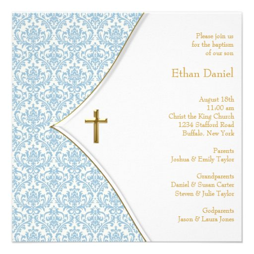 Bautizo azul del muchacho de la cruz del damasco invitacion personal