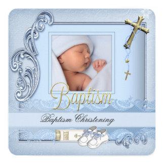 Bautizo azul del muchacho de la cruz del oro del invitación 13,3 cm x 13,3cm