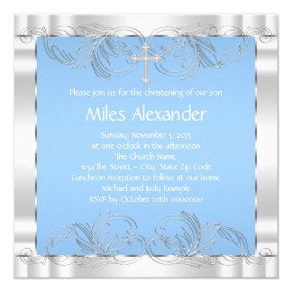 Bautizo azul y blanco elegante invitación 13,3 cm x 13,3cm