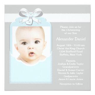 Bautizo azul y gris de la foto del bebé invitación 13,3 cm x 13,3cm
