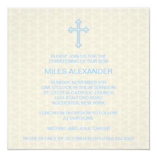 Bautizo beige del muchacho azul de la cruz del invitación 13,3 cm x 13,3cm