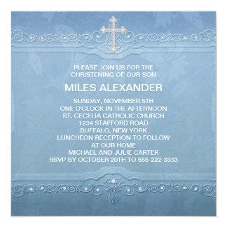 Bautizo blanco azul elegante del bebé invitación 13,3 cm x 13,3cm