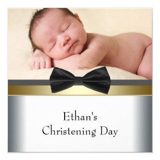Bautizo blanco negro de la foto del bebé de la invitación 13,3 cm x 13,3cm