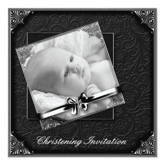 Bautizo blanco negro elegante de la foto invitación 13,3 cm x 13,3cm