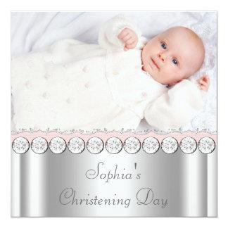 Bautizo blanco rosado de la foto de la niña invitación 13,3 cm x 13,3cm