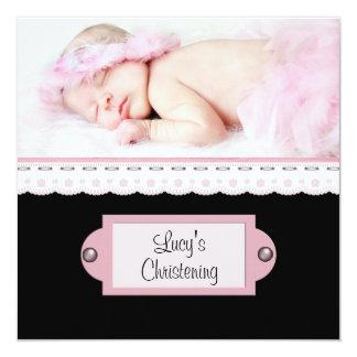 Bautizo blanco rosado de la foto del chica del invitación 13,3 cm x 13,3cm