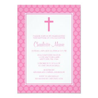 Bautizo blanco rosado del bautismo de la cruz del invitación