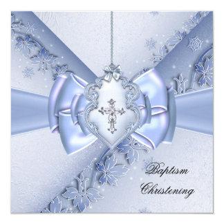 Bautizo cruzado azul del damasco del muchacho del invitación 13,3 cm x 13,3cm