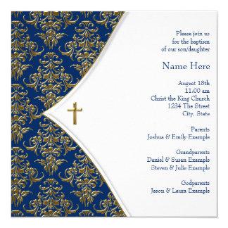 Bautizo cruzado del azul y del oro invitación 13,3 cm x 13,3cm