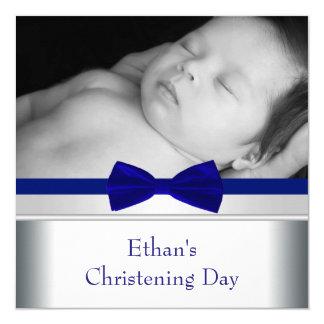 Bautizo de la foto del bebé de la pajarita del invitación 13,3 cm x 13,3cm