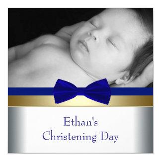 Bautizo de la foto del bebé del oro del azul real invitación 13,3 cm x 13,3cm