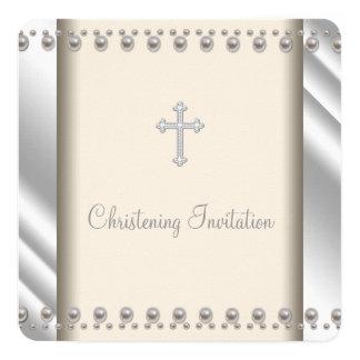 Bautizo de marfil de la cruz de la perla invitación 13,3 cm x 13,3cm