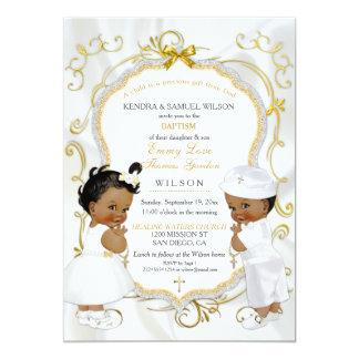 Bautizo del bautismo de los gemelos del muchacho y invitación 12,7 x 17,8 cm
