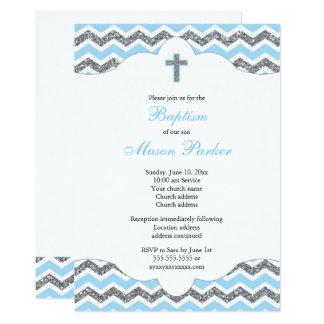 Bautizo del bautismo del muchacho del brillo del invitación 12,7 x 17,8 cm