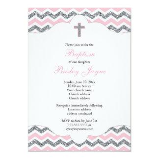 Bautizo del bautismo del rosa y del chica del invitación 12,7 x 17,8 cm