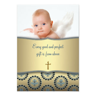 Bautizo elegante de la foto del bebé del azul y invitación 12,7 x 17,8 cm