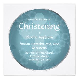 Bautizo floral del azul de la pizarra de la invitación 13,3 cm x 13,3cm