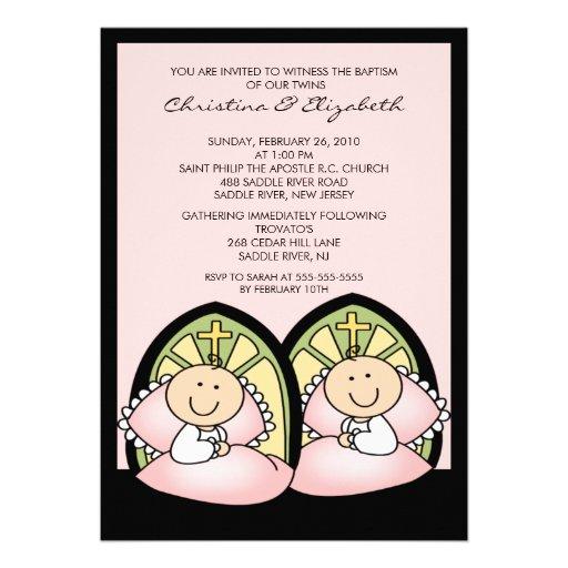 Bautizo gemelo lindo Inviation del bautismo de los Invitaciones ...