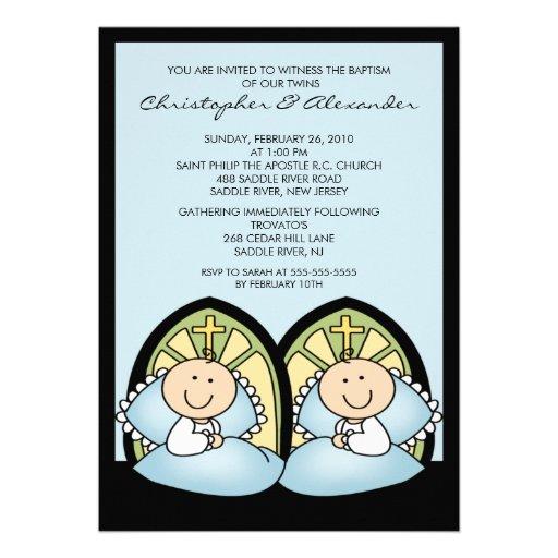 Invitaciónes para bautizo de gemelos - Imagui