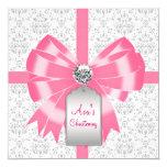 Bautizo gris rosado del bautismo de la niña del invitación 13,3 cm x 13,3cm