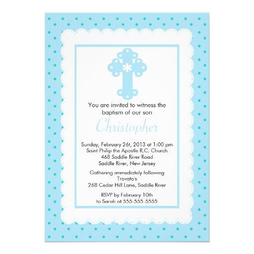 Polka Dot Baptism Boys Christening Invites