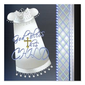 Bautizo negro cruzado del azul de los muchachos invitación 13,3 cm x 13,3cm
