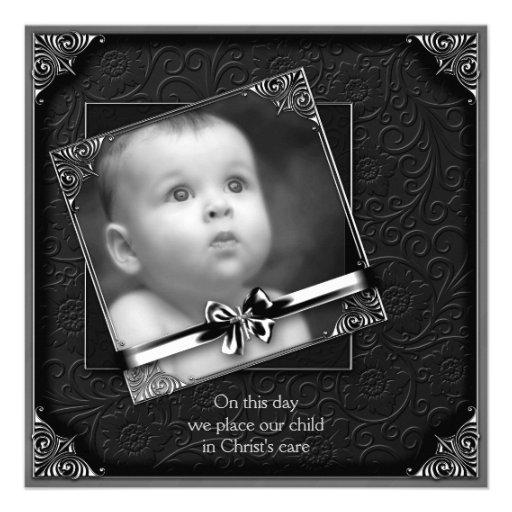 Bautizo negro de la foto del bebé invitación