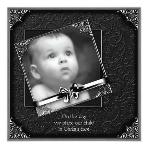 Bautizo negro de la foto del bebé invitación 13,3 cm x 13,3cm