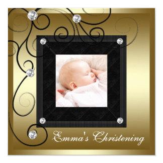 Bautizo negro de la foto del chica del bebé del invitación 13,3 cm x 13,3cm