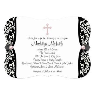 Bautizo negro rosado cruzado del damasco de la invitación 12,7 x 17,8 cm