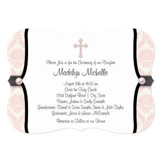 Bautizo negro rosado del damasco invitación 12,7 x 17,8 cm