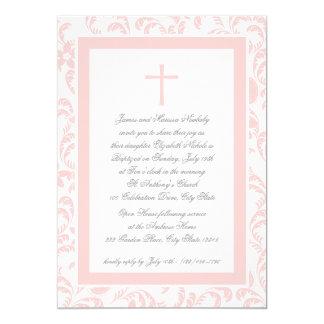 Bautizo Paisley rosada suave Invitación 12,7 X 17,8 Cm