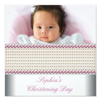 Bautizo rosado blanco de la foto de la niña de la invitación 13,3 cm x 13,3cm