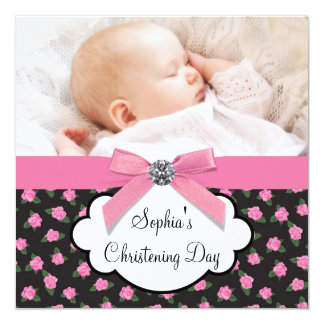 Bautizo rosado de la foto de la niña de los rosas invitación 13,3 cm x 13,3cm