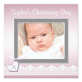 Bautizo rosado de la foto de la niña del cordón invitación 13,3 cm x 13,3cm