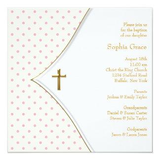 Bautizo rosado de la niña de la cruz del oro invitación 13,3 cm x 13,3cm
