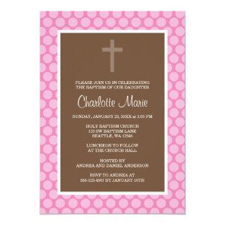 Bautizo rosado del bautismo de la cruz del lunar anuncios personalizados