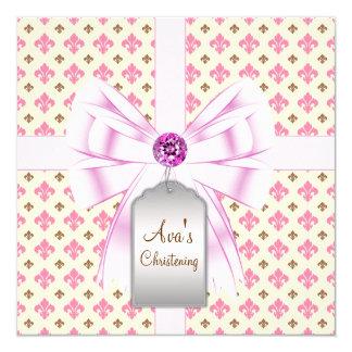 Bautizo rosado del bebé de la flor de lis de Brown Invitación 13,3 Cm X 13,3cm