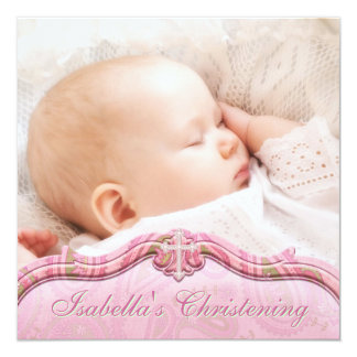Bautizo verde rosado de la foto de la niña de invitación 13,3 cm x 13,3cm